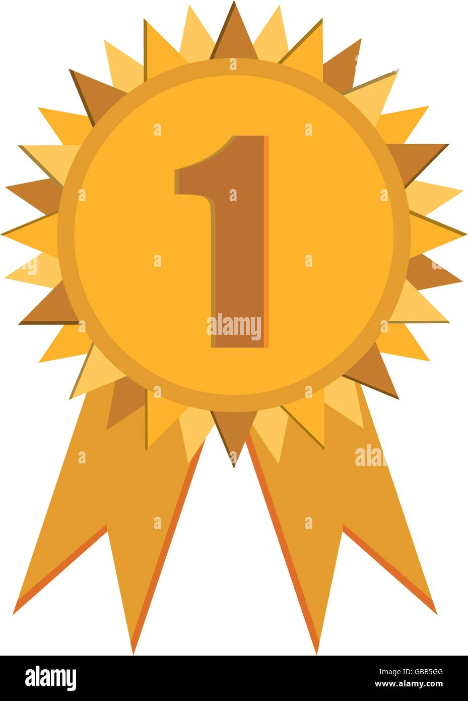 first place prize badge with ribbons icon - Stock Image