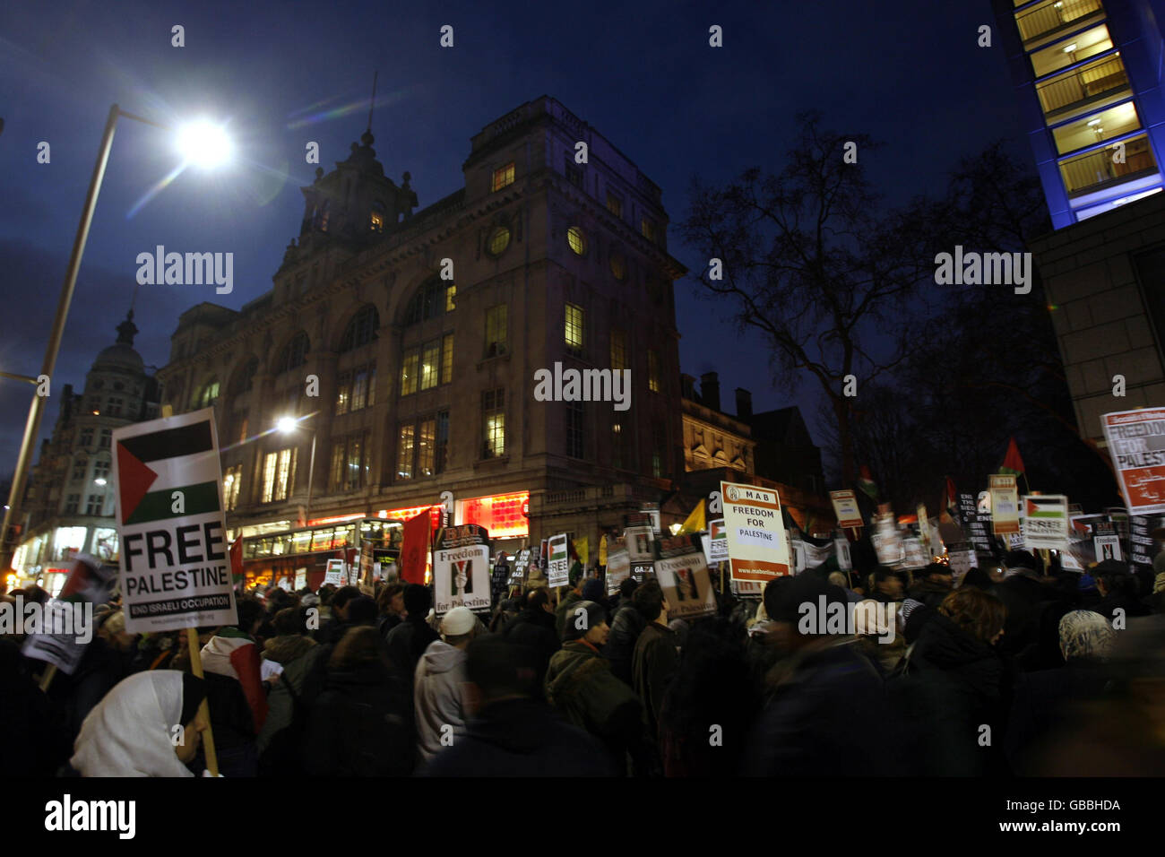 Palestinian protest against Israeli air strikes - Stock Image