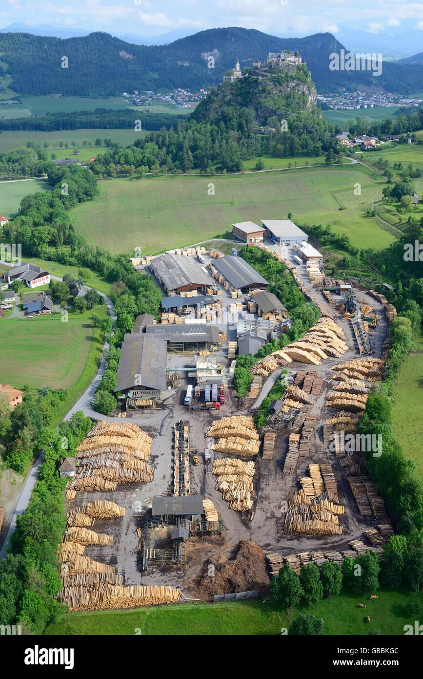 SAWMILL IN HOCHOSTERWITZ (aerial view). Carinthia, Austria. - Stock Image