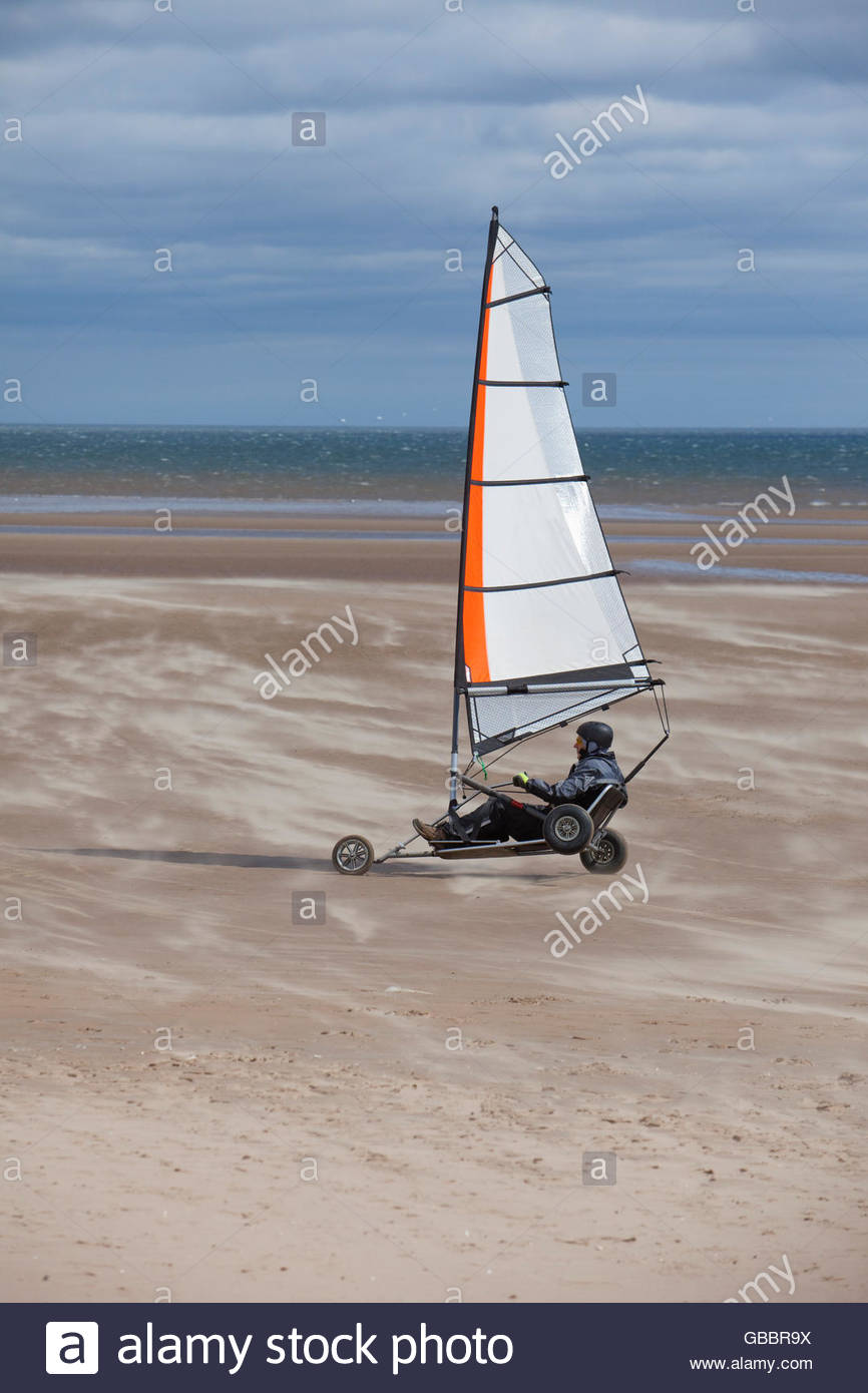 Land yachting on West Sands beach, St Andrews, Fife, Scotland. - Stock Image
