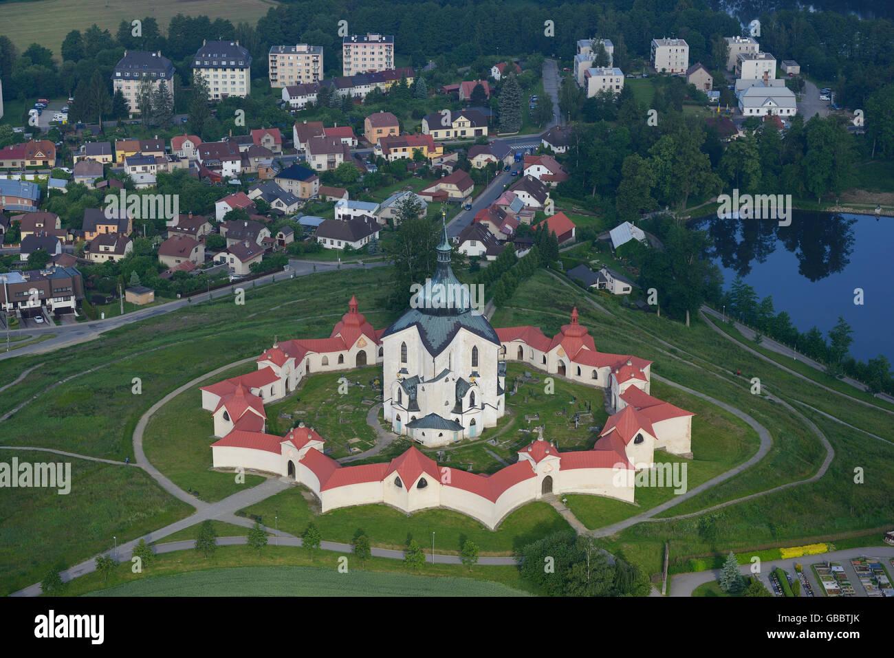 CHURCH OF SAINT JOHN OF NEPOMUK (aerial view). At Zelena Hora near the town of Zdar nad Sazavou, Czech Republic. - Stock Image