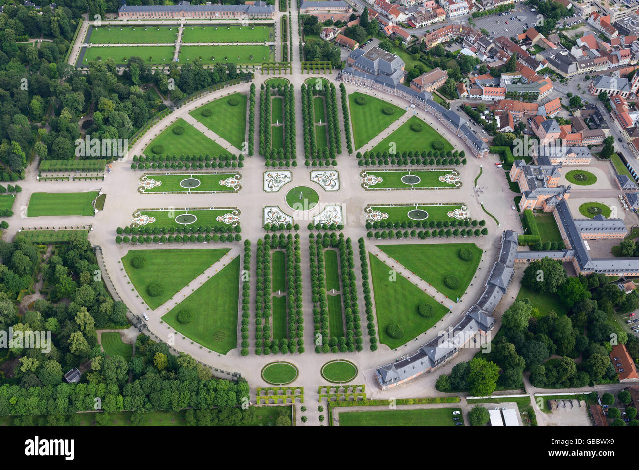 SCHWETZINGEN CASTLE & GARDEN (aerial view). Schwetzingen, Baden-Wurttemberg, Germany. - Stock Image