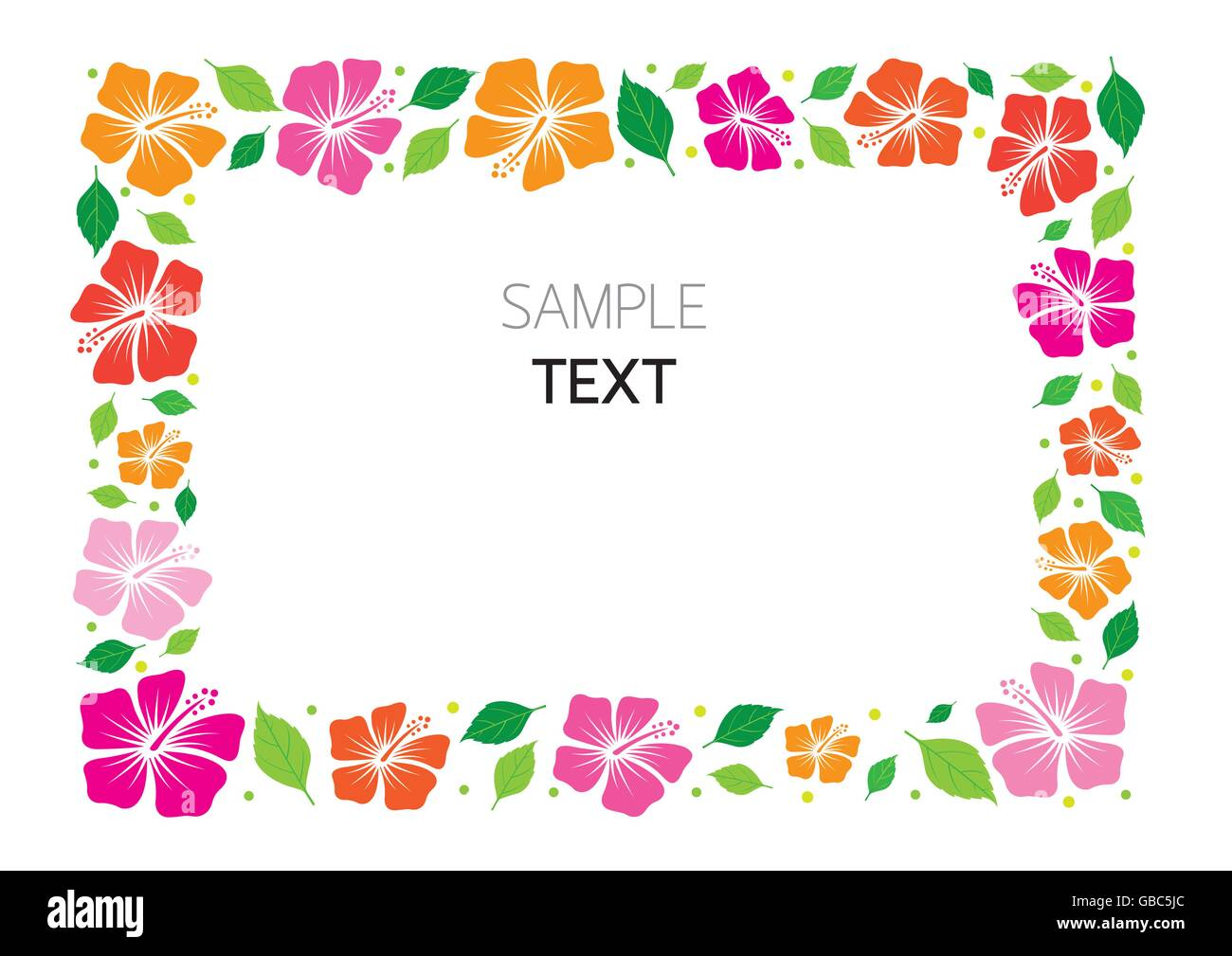 Colorful Hibiscus Frame, Flowers, Tropical, Summer, Border, Stock Vector