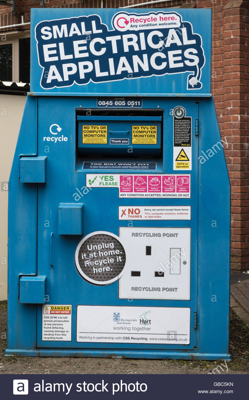 Recycling bin for small electrical appliances - Stock Image