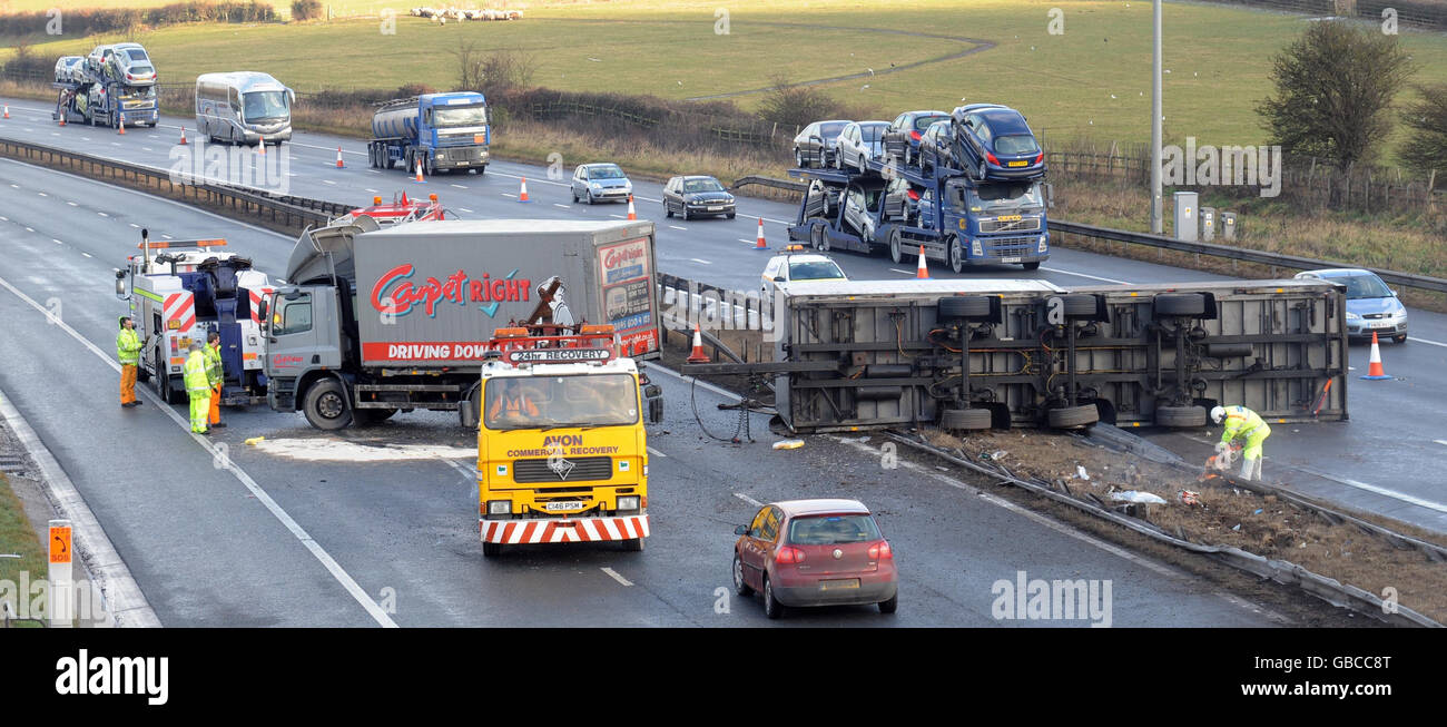 Lorry accident on M5 Stock Photo: 110296504 - Alamy