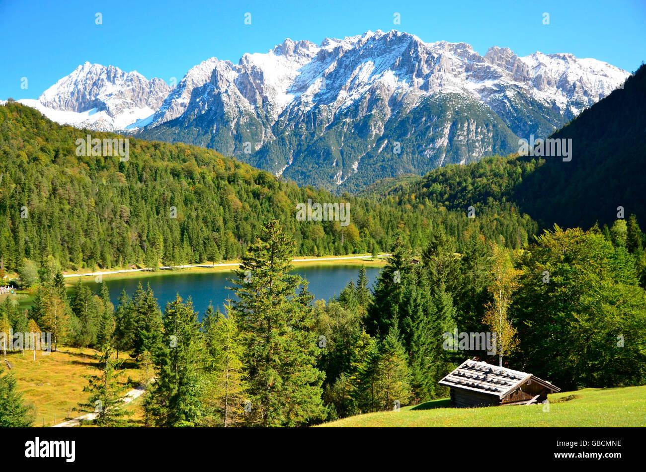 Bergsee, Karwendelgebirge, Ferchensee, Isartal, Oberbayern, Deutschland Stock Photo