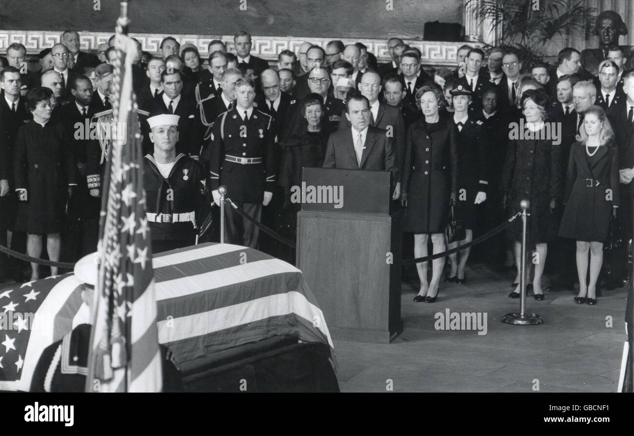 President Richard M. Nixon eulogizes former President Dwight D. Eisenhower in ceremonies March 30 in the Rotunda - Stock Image