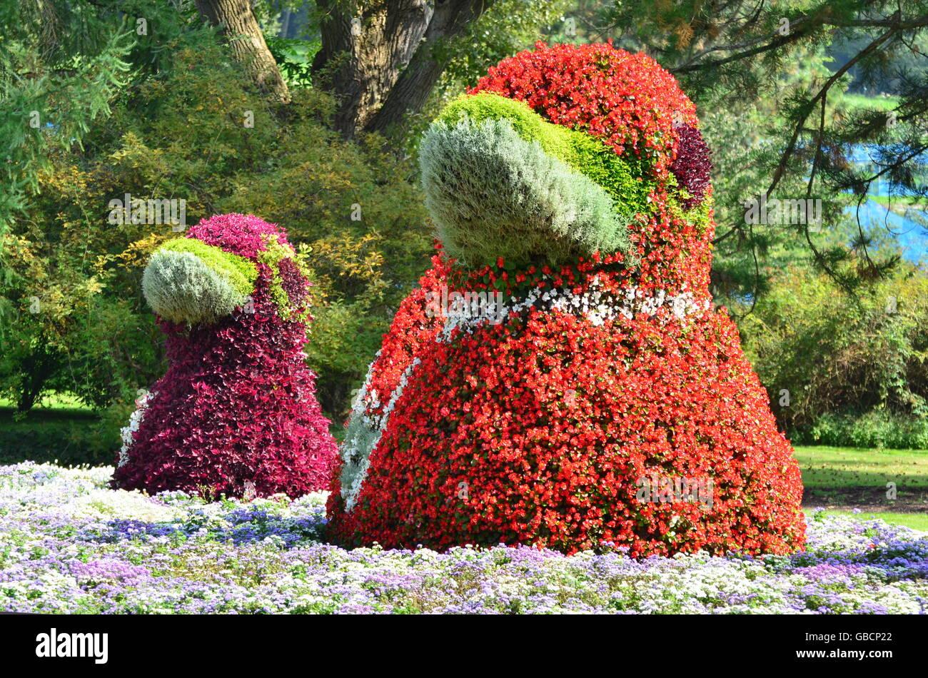 Botanik, Blumenfiguren, Insel Mainau, Bodensee - Stock Image