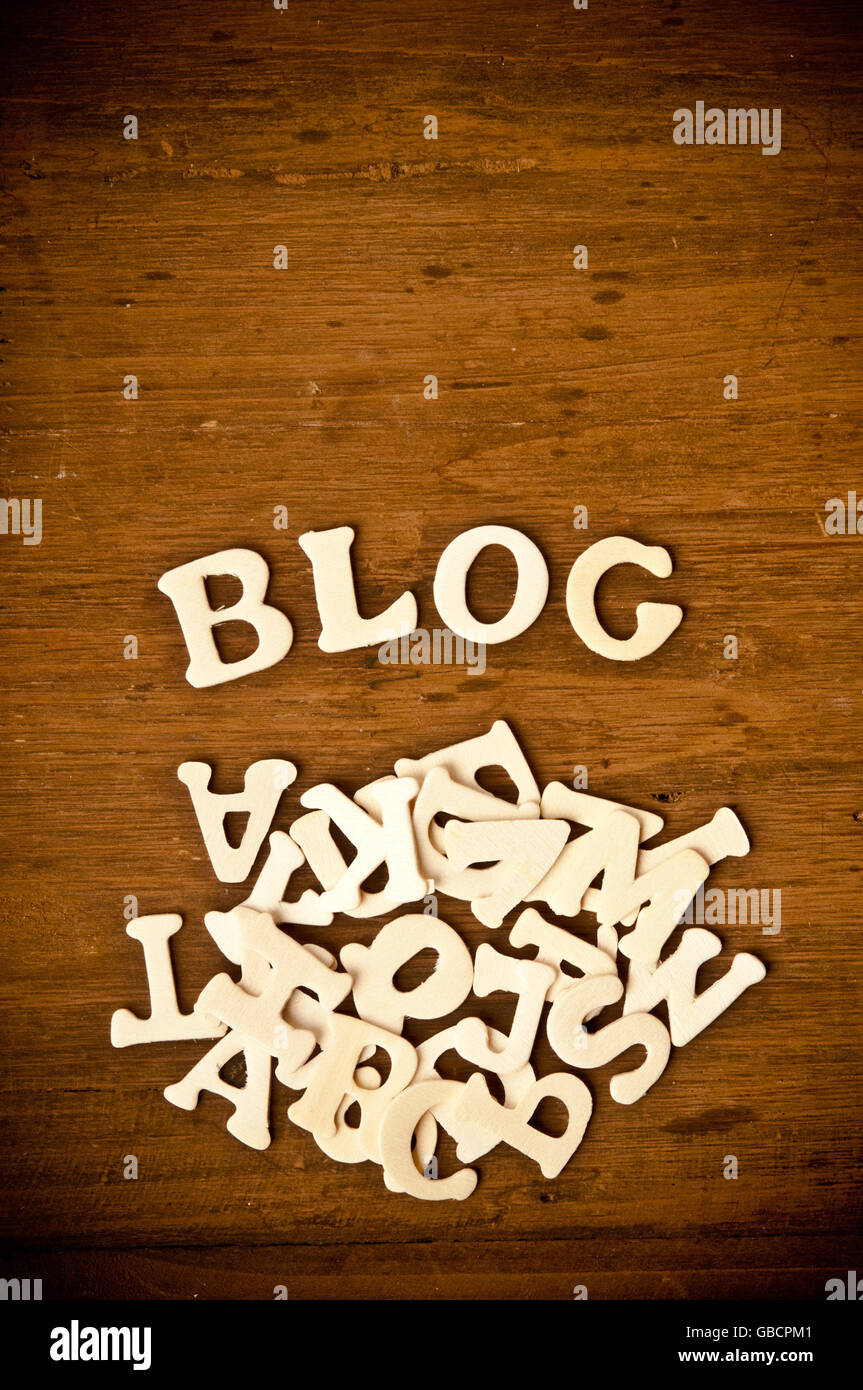 word BLOG formed from scattered wooden letters - blog concept - Stock Image