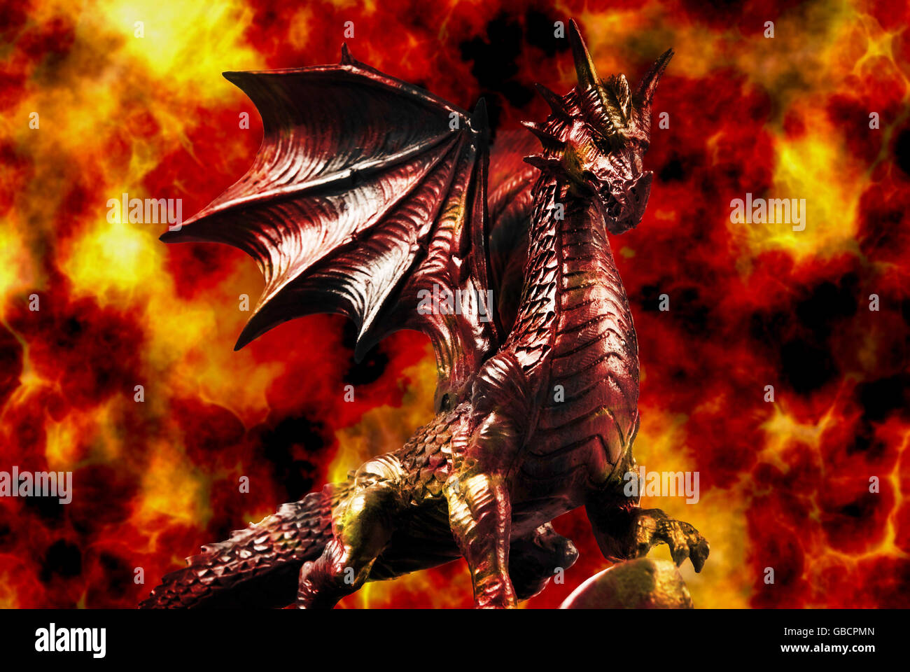 dragon with fire background - Stock Image
