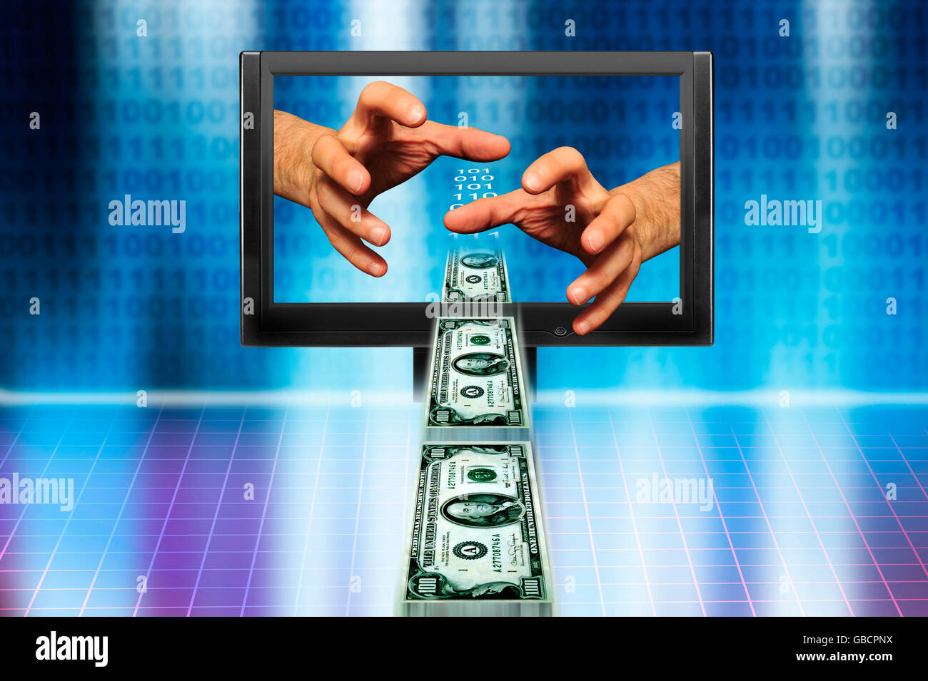 hands from inside a computer monitor grabbing money, internet financial crime - Stock Image