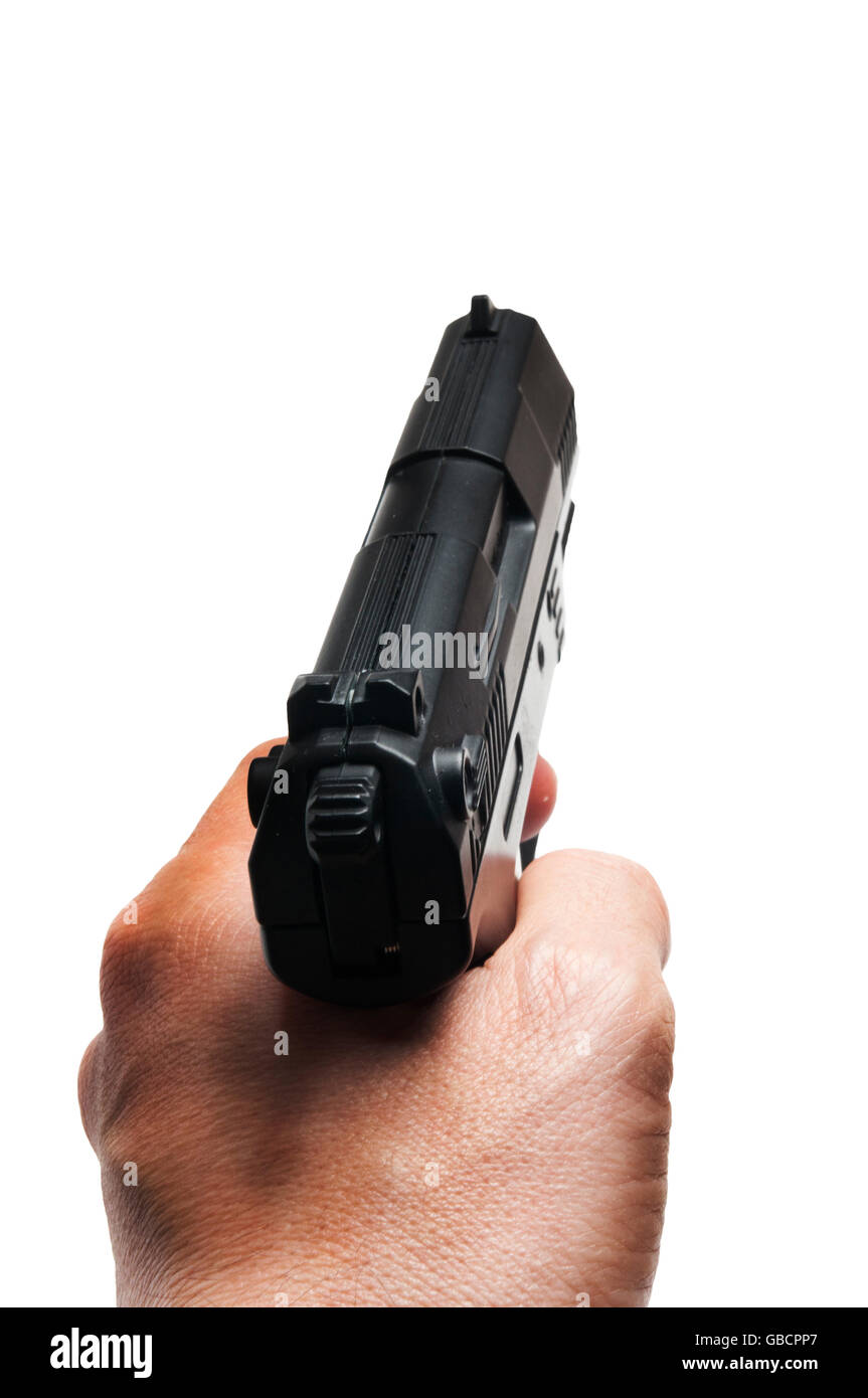 man hand holding a gun Stock Photo