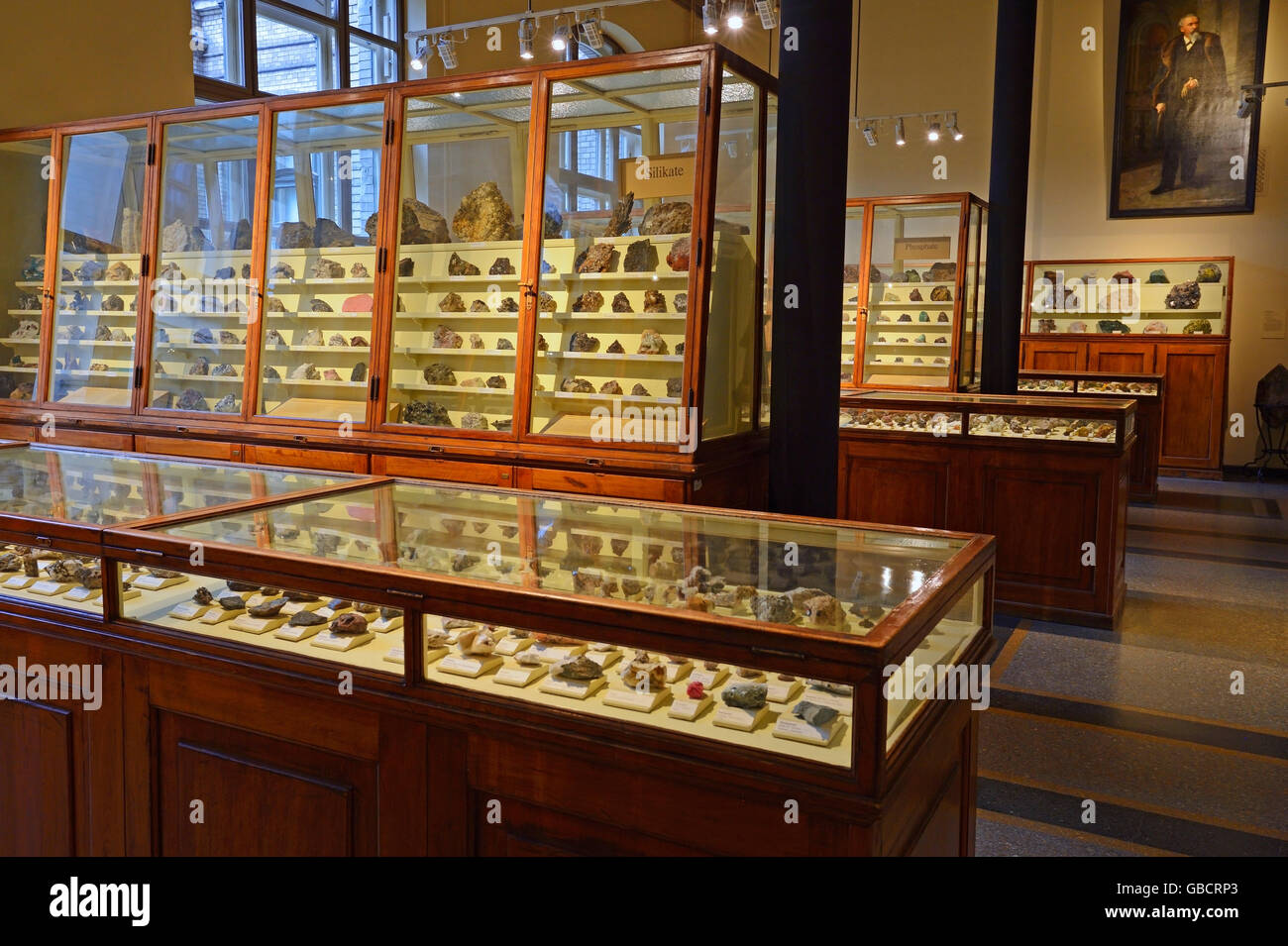 minerals in historical glass cabinets, museum of natural history, Berlin, Germany - Stock Image
