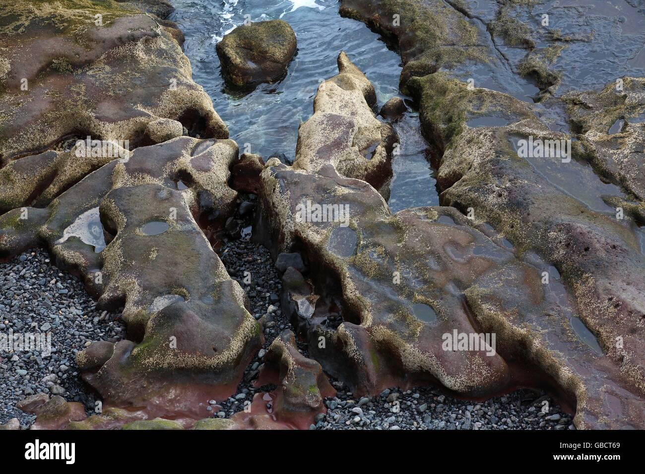 Felsen und Gestein in der Brandungszone, Felskueste, Las Colaradas, Playa Blanca, Insel Lanzarote, Kanarische Inseln, - Stock Image