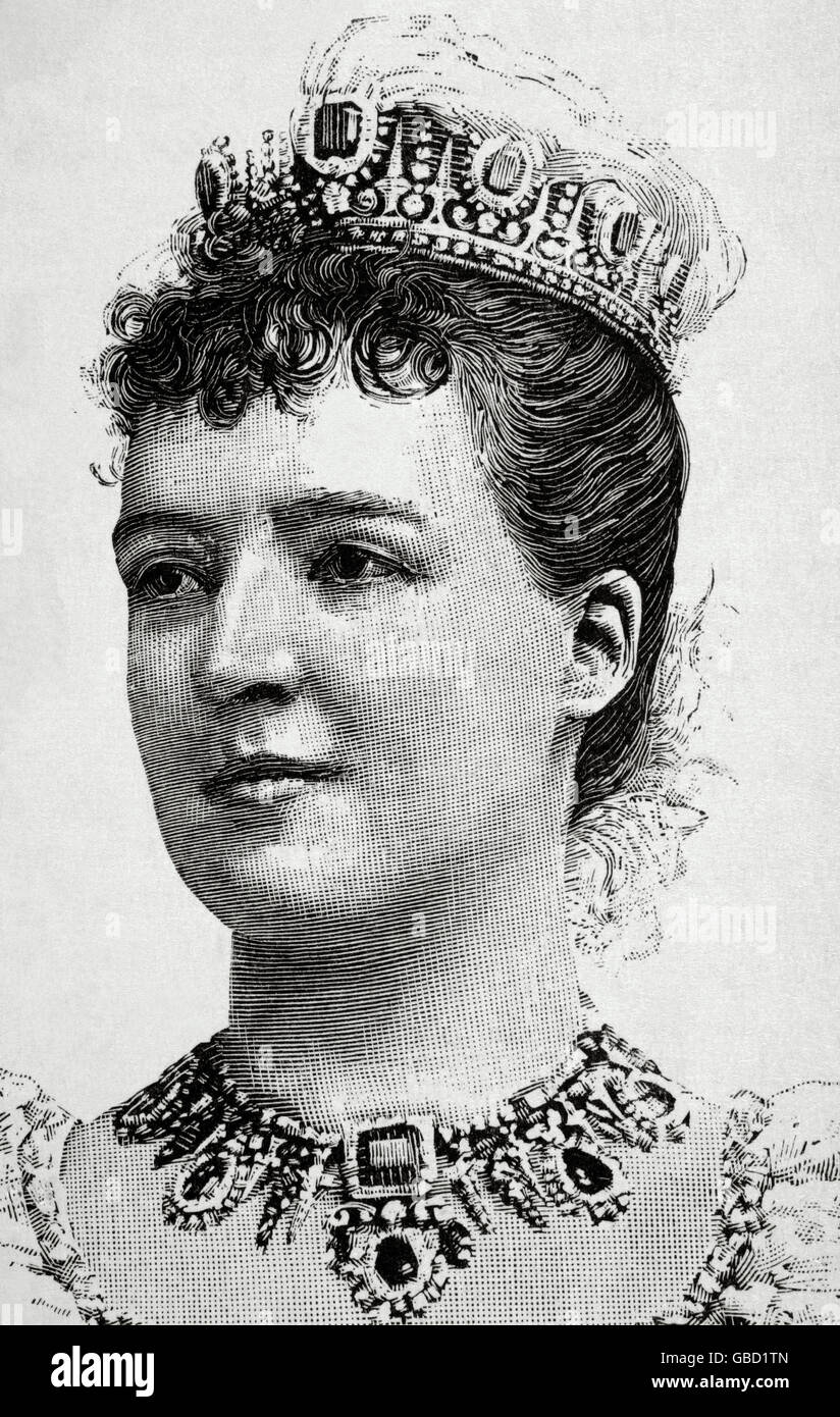 Amelie of Orleans (1865-1951). Queen consort of Portugal. Engraving. 19th century. - Stock Image
