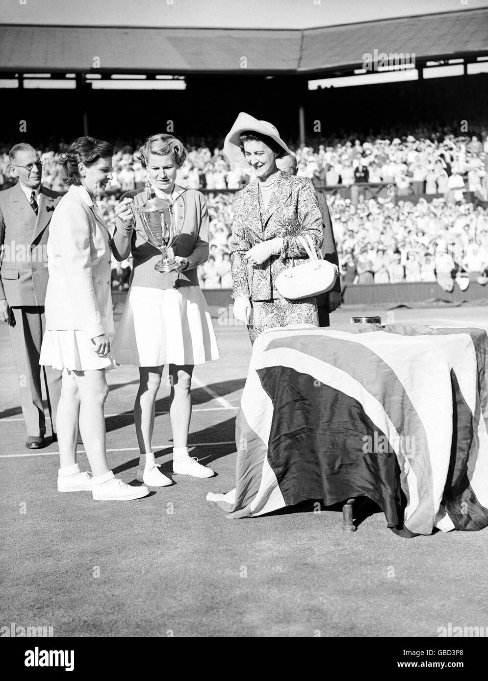 Tennis - Wimbledon Championships - Ladies' Doubles - Final - Louise Brough and Margaret DuPont v Gussie Moran - Stock Image