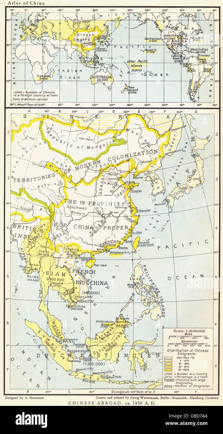 CHINESE DIASPORA: Chinese Abroad/Overseas, c1930, 1935 vintage map - Stock Image