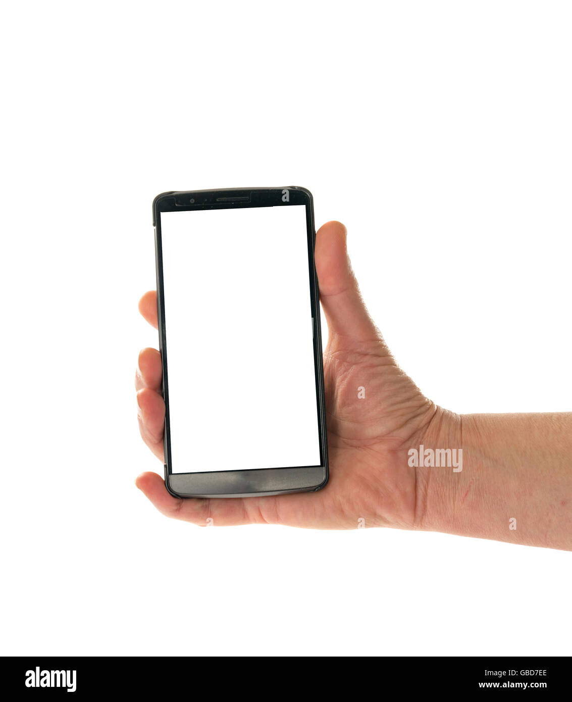Image of male hand holding smartphone with screen isolated ready for insertion of your application or screenshot - Stock Image