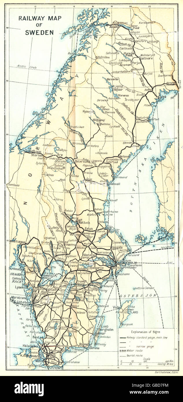 SWEDEN: Railway Map of Sweden. Ferry routes, 1923 Stock Photo ...