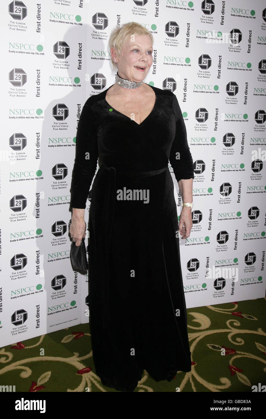 Dame Judi Dench arriving for The London Critics' Circle Film Awards, at Grosvenor House Hotel in central London. Stock Photo