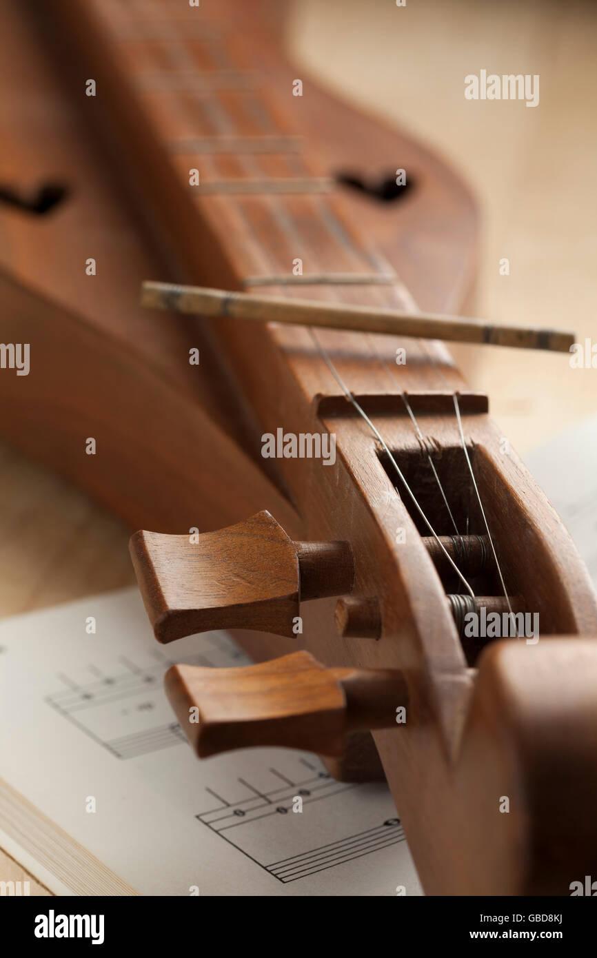 Appalachian mountain dulcimer instrument close up - Stock Image