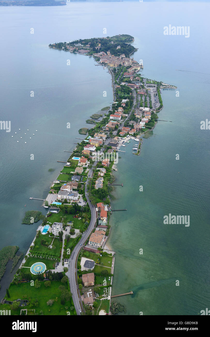 SIRMIONE PENINSULA (aerial view). Lake Garda, Lombardy, Italy. - Stock Image