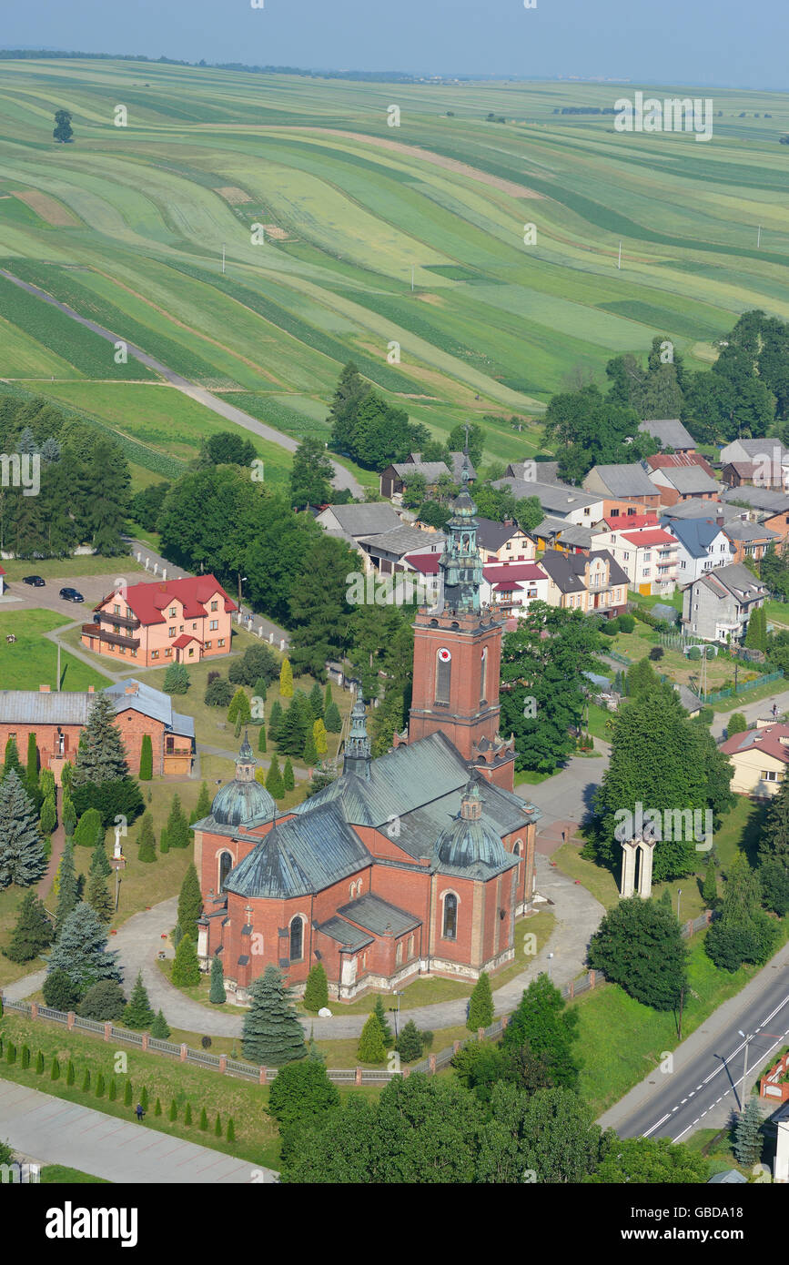 CHURCH IN THE TOWN OF SULOSZOWA (aerial view). Poland. - Stock Image
