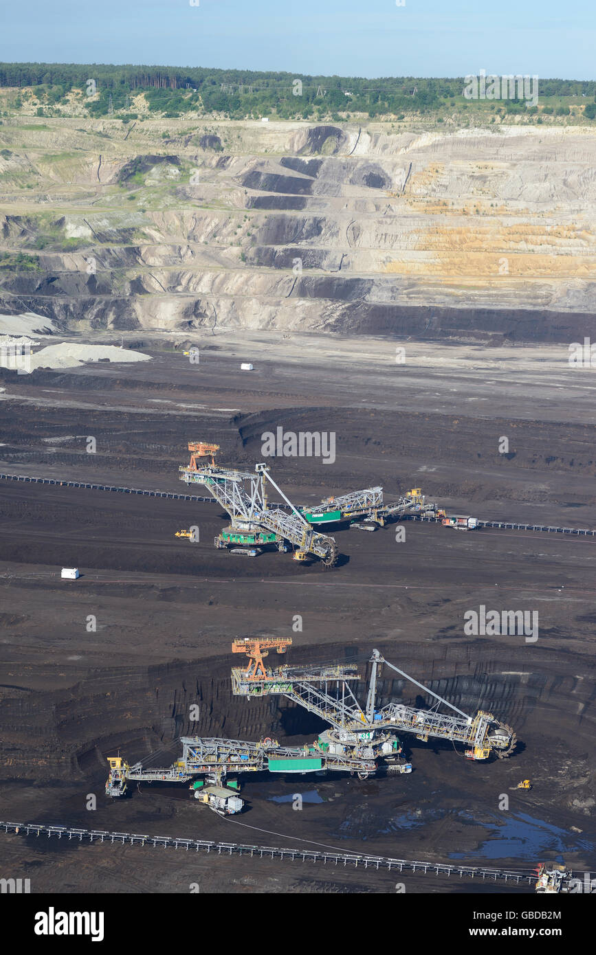 BUCKET-WHEEL EXCAVATORS IN AN OPEN-PIT COAL MINE (aerial view). Near the town of Belchatow in Poland. - Stock Image