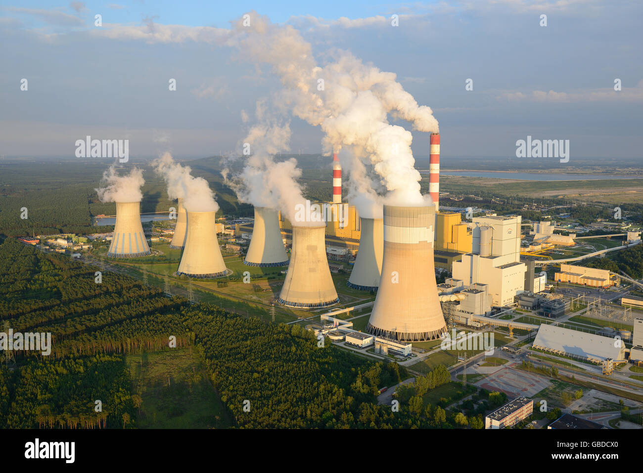COAL-FIRED POWER PLANT (aerial view). Large power plant near the town of Belchatow in Poland. - Stock Image