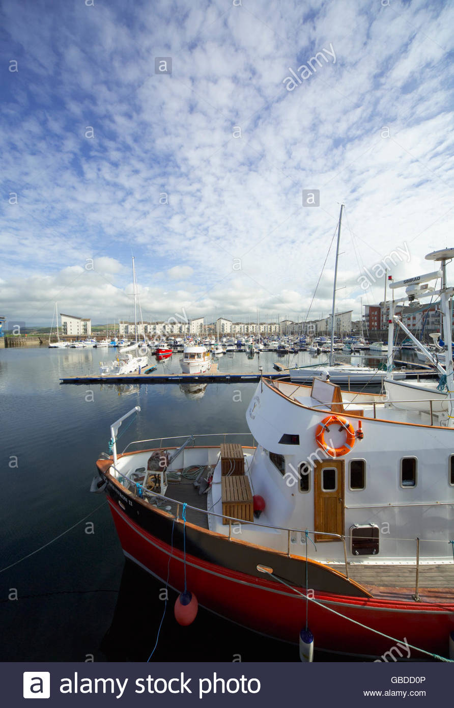 Boats moored in the Clyde Marina at Ardrossan, North Ayrshire, Scotland. - Stock Image