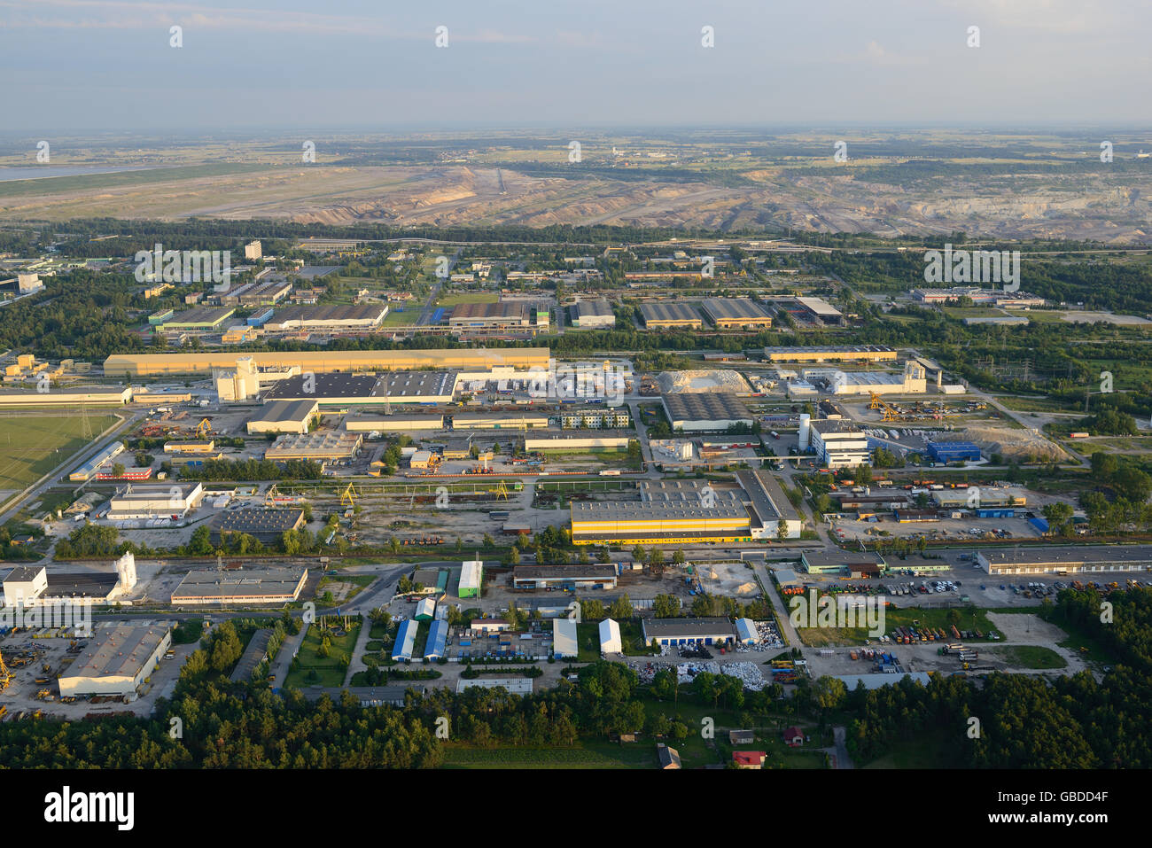 INFRASTRUCTURE AT THE BELCHATOW POWER STATION (aerial view). Lodz Voivodeship, Poland. Stock Photo
