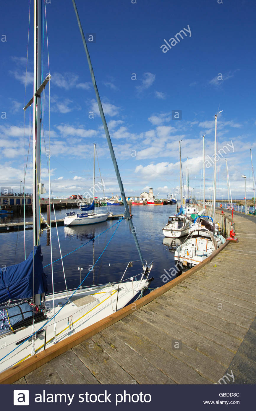 Yachts moored at the harbour at Irvine, North Ayrshire, Scotland. Stock Photo
