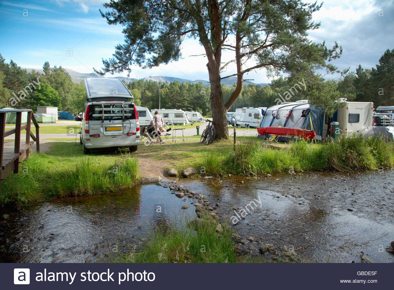 The busy caravan and campsite at Glenmore Forest Park near Aviemore, Highlands of Scotland. - Stock Image