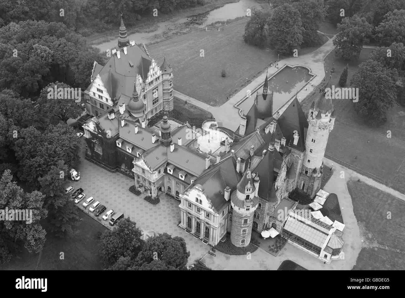 MOSZNA CASTLE (aerial view). Voivodeship of Opole, Poland. - Stock Image