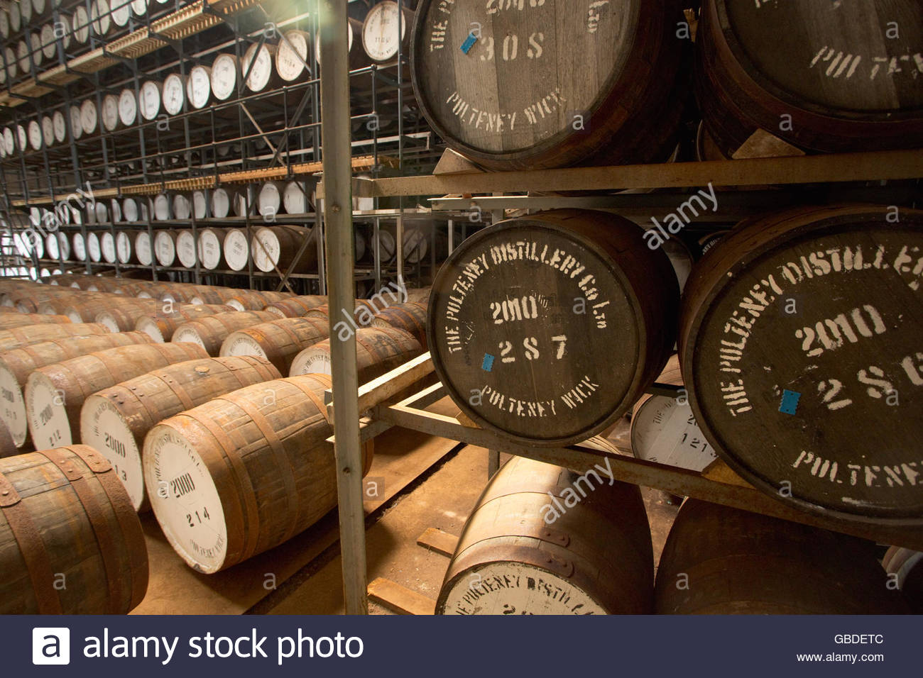 Barrels stored at the Old Pulteney Distillery, Wick, Caithness, Highlands of Scotland. - Stock Image