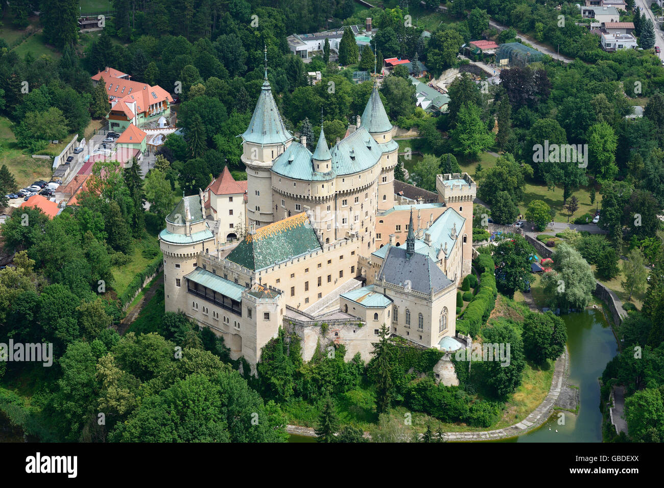 BOJNICE CASTLE (aerial view). Near the town of Prievidza in Slovakia. - Stock Image
