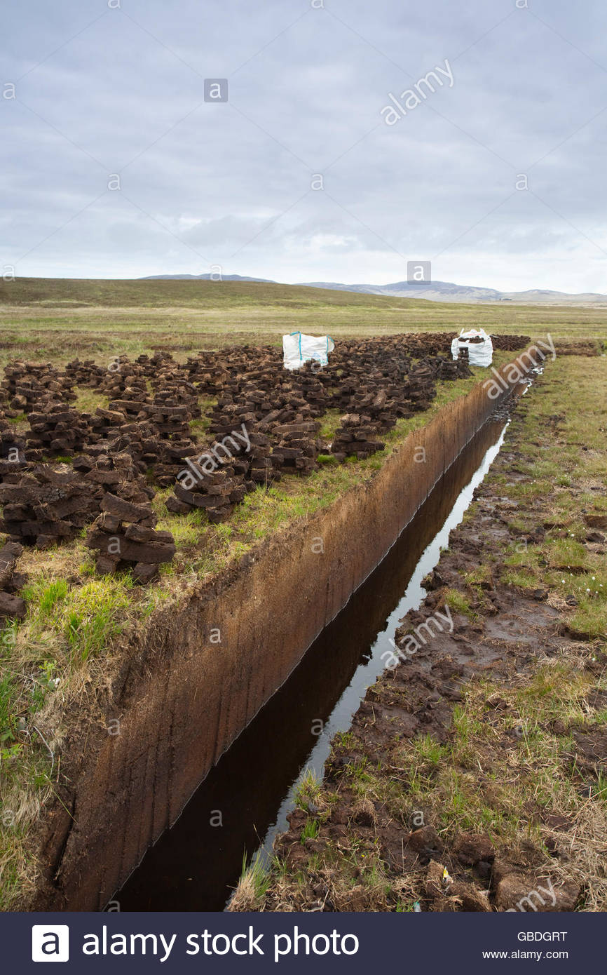 Peat cutting on the Isle of Islay, Inner Hebrides, Scotland. - Stock Image