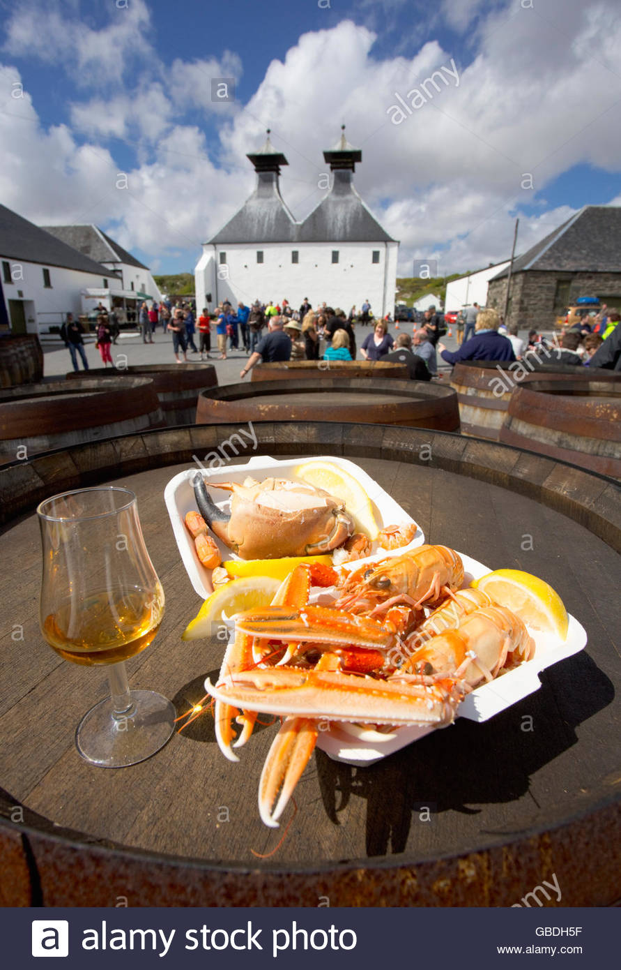 Takeaway crab and langoustines served at Ardbeg Distillery during an event, on the Isle of Islay, Inner Hebrides, - Stock Image