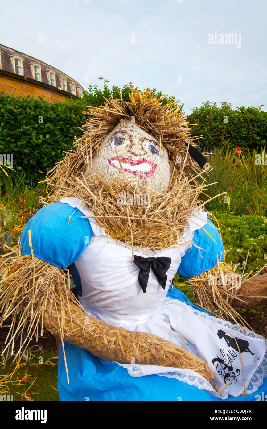 Mad Hatter's Tea Party, Alice in Wonderland effigy or Scarecrow assembled for the Fleetwood Festival _ Tea party - Stock Image