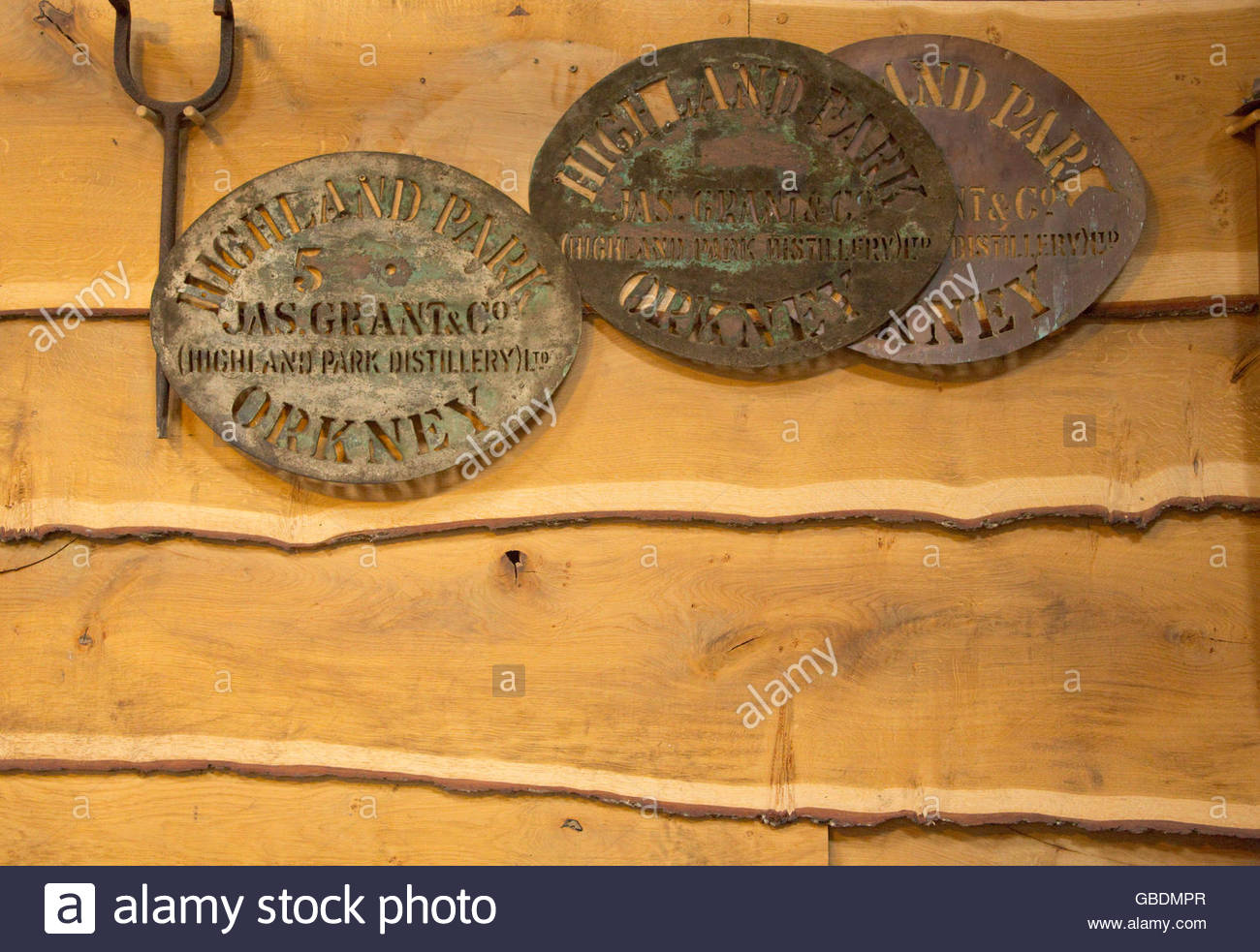 Stencils for marking the barrels at the Highland Park Distillery, Kirkwall, Mainland, Orkney, Scotland. - Stock Image