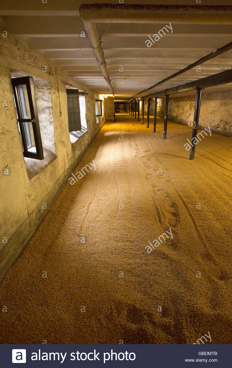The Malting Room at the Highland Park Distillery, Kirkwall, Mainland, Orkney, Scotland. Stock Photo