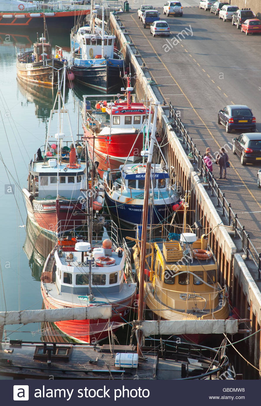 Fishing Boats moored in the harbour at Kirkwall, Mainland, Orkney, Scotland. - Stock Image