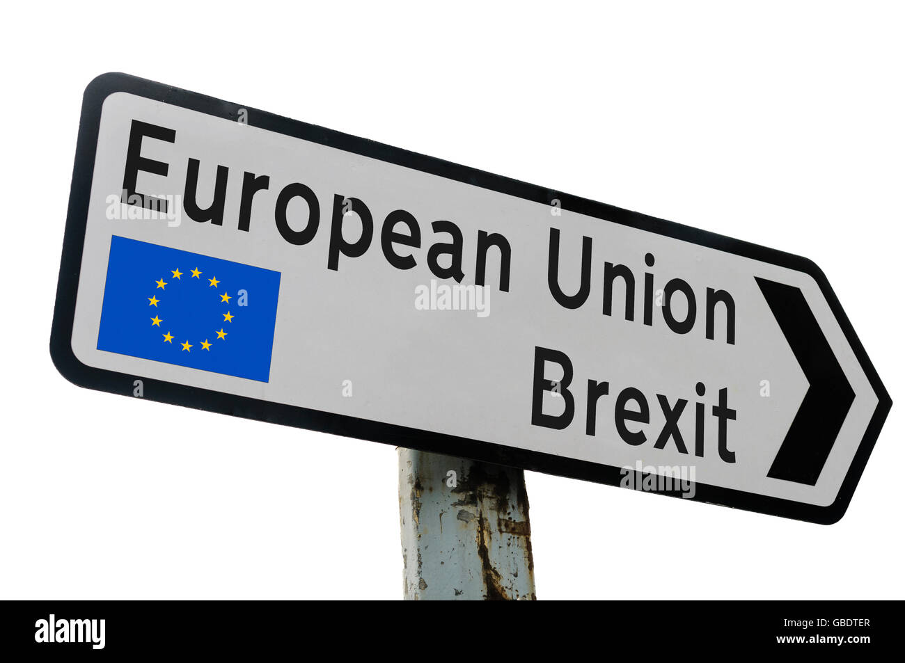 Street direction sign saying 'European Union, Brexit' with EU flag - Stock Image