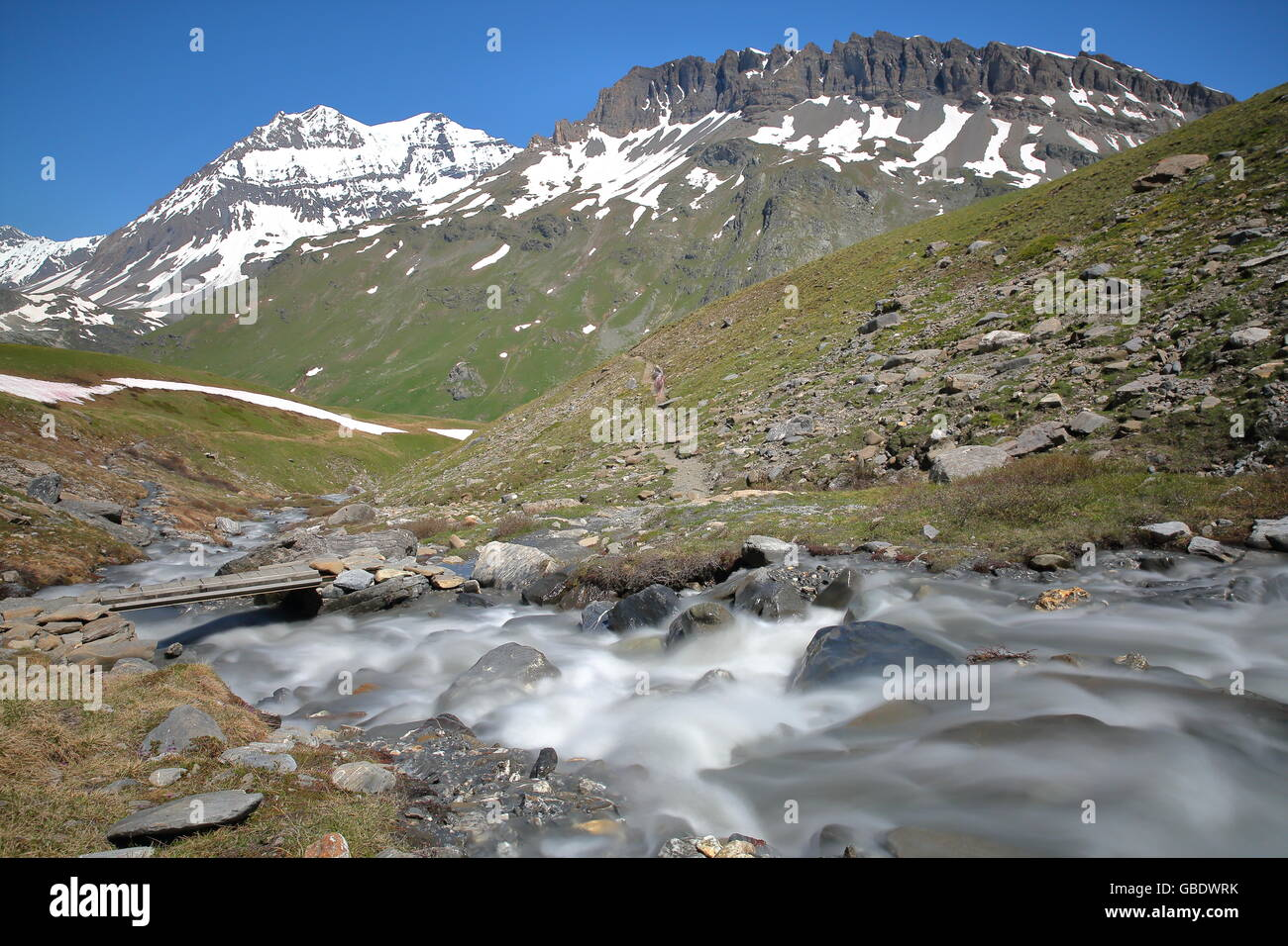 2 summits:Grande Casse and Pierre Brune from the torrent Fontabert, Vanoise National Park, Northern Alps, - Stock Image