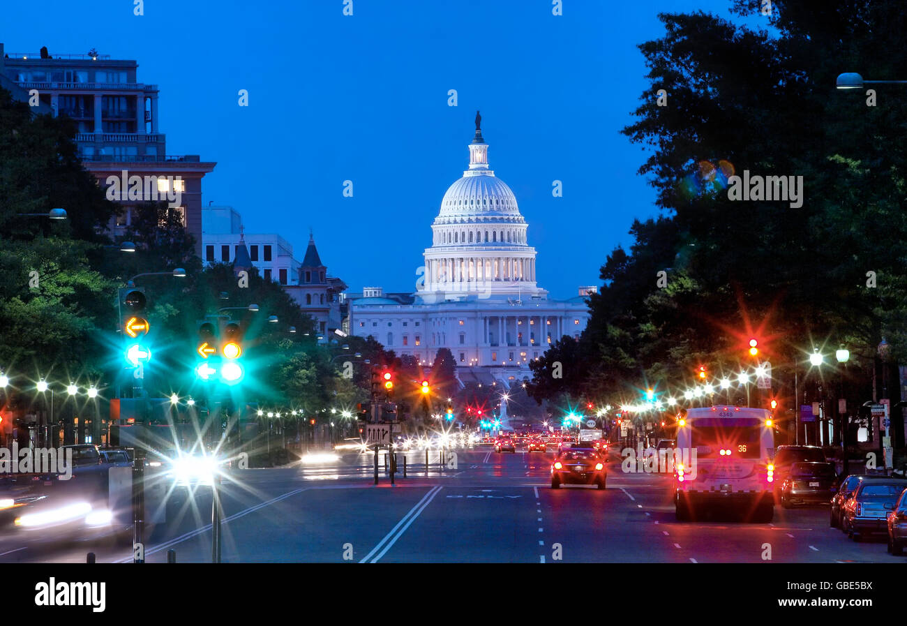 Pennsylvania Avenue and Capitol building in the background in Washington DC - Stock Image