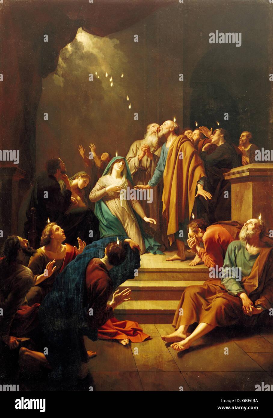 fine arts, Adriaen van der Werff (1659 - 1722), painting, Pentecost, Castle Schleissheim, Germany, - Stock Image