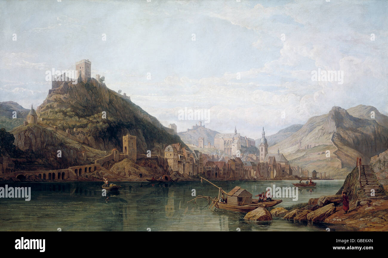 fine arts, Stanfield, George Clarkson (1828 - 1878), painting, Cochem - View with castle ruins and fortifications - Stock Image