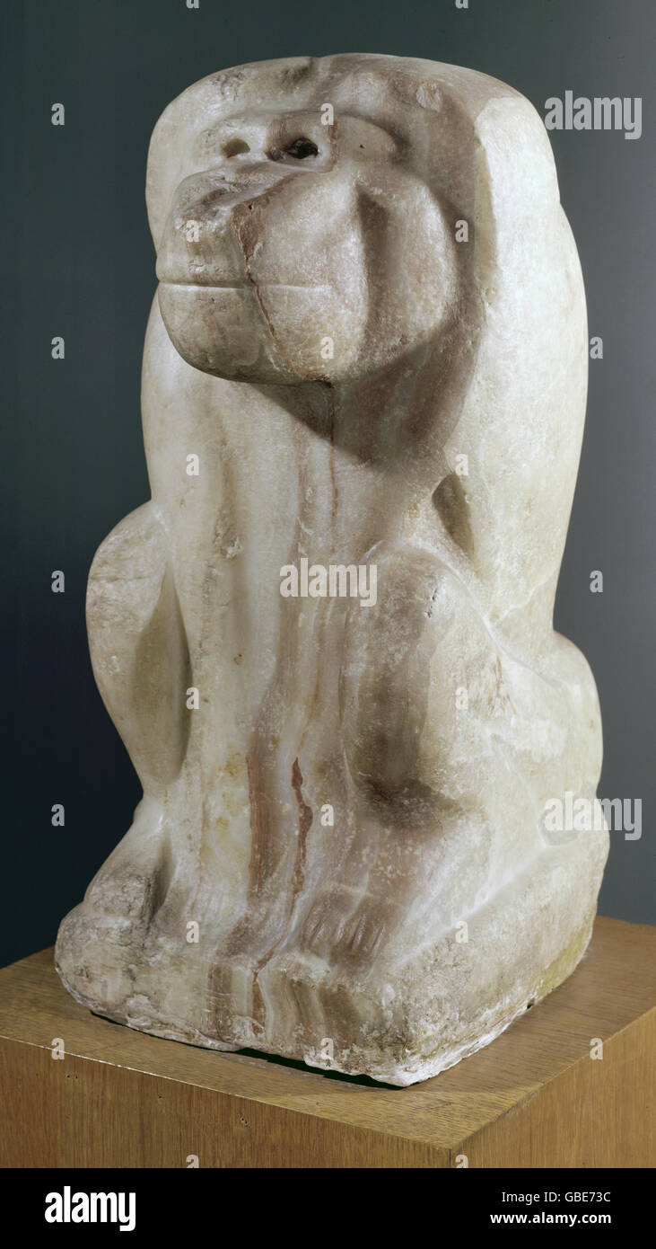 fine arts, Egypt, alabaster sculpture, baboon with the name of King Narmer, 1000 BC, - Stock Image