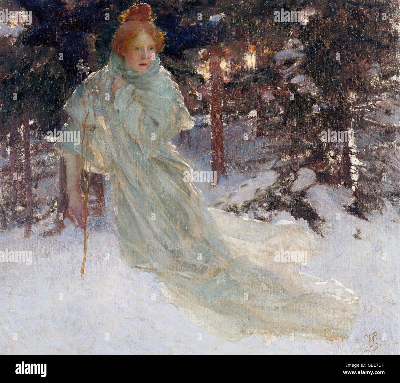 fine arts, Voitech, H. 'Zima' (Winter), painting, National Gallery, Prague, - Stock Image