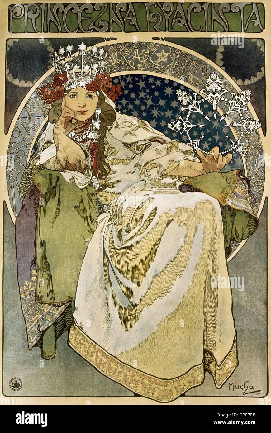 "fine arts, Mucha, Alfons (1860 - 1939), poster, ""Princezna Hyacinia"" (Princess Hyacinth), lithograph, 1911, Stock Photo"